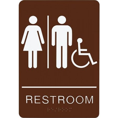"""ADA Sign Restroom Accessible 6""""x9"""" Brown & White"""