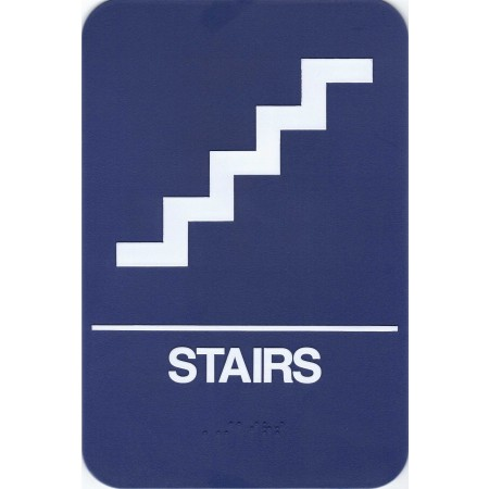 """ADA Sign Stairs 6""""x9"""" Blue & White"""
