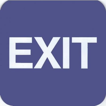 "ADA Sign Exit 6""x6"" Blue & White"