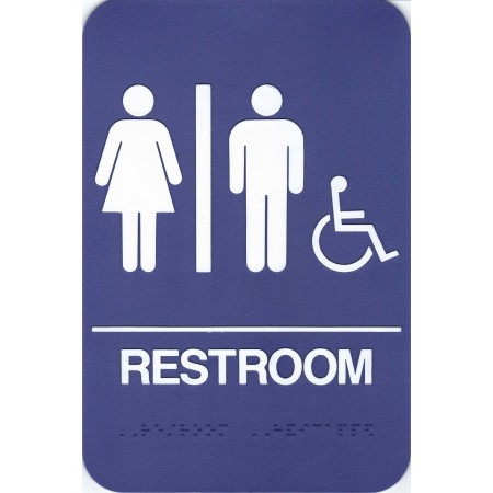 """ADA Sign Restroom Accessible 6""""x9"""" Blue & White"""