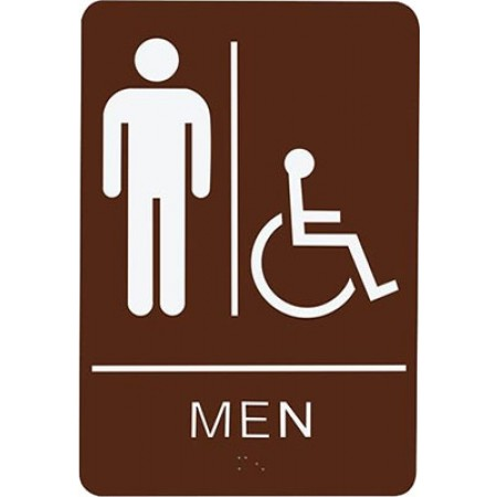 """ADA Sign Men Accessible 6""""x9"""" Brown & White"""