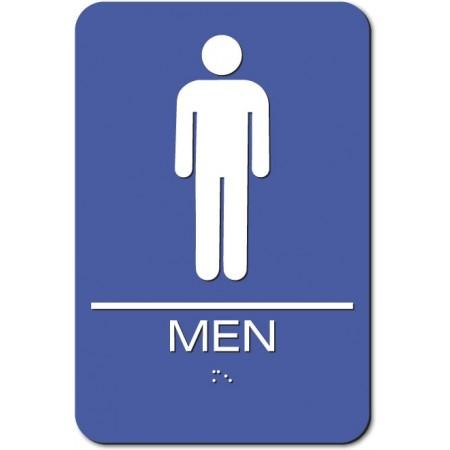 "ADA Sign Men 6""x9"" Blue & White"