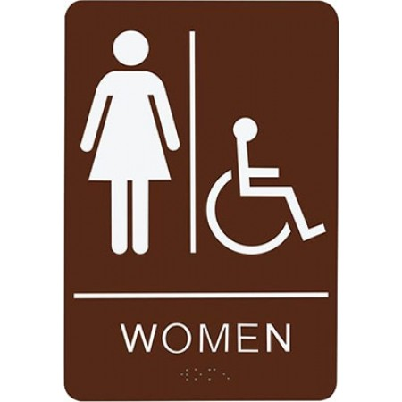 """ADA Sign Woman Accessible 6""""x9"""" Brown & White"""