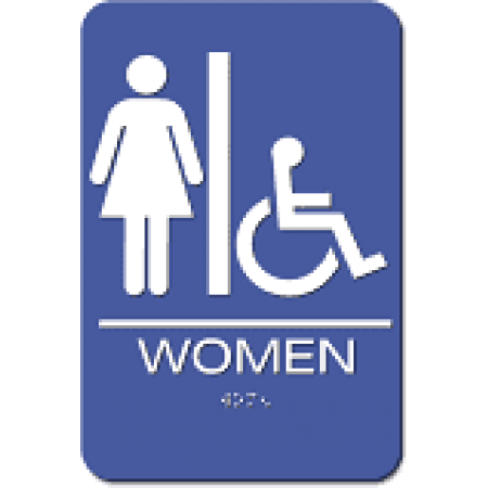 """ADA Sign Woman Accessible 6""""x9"""" Blue & White"""