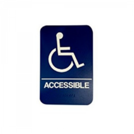 "ADA Sign Accessible 6""x9"" Blue & White"