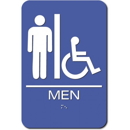 "ADA Sign Men Accessible 6""x9"" Blue & White"