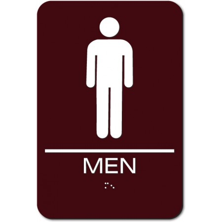 "ADA Sign Men 6""x9"" Brown & White"
